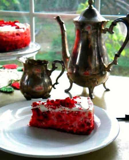 homemade red velvet cheesecake for dessert