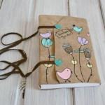 jurnal handmade piele - pasari flori2
