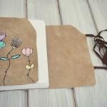 jurnal handmade piele - pasari flori3