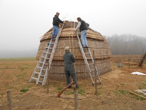 The first piece of synthetic bark is placed on the cap of the longhouse on a foggy, gray winter day!