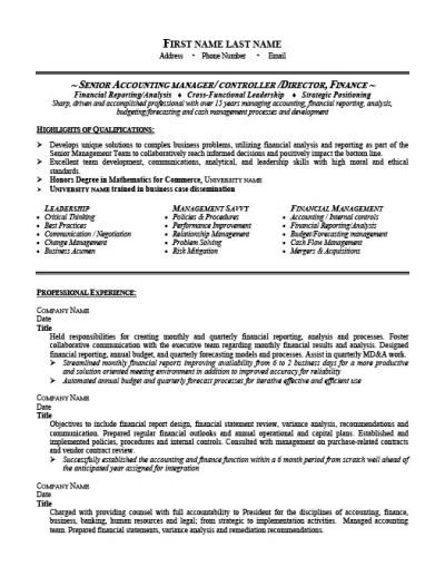 Senior Accounting Manager Resume Template   Premium Resume Samples & Example