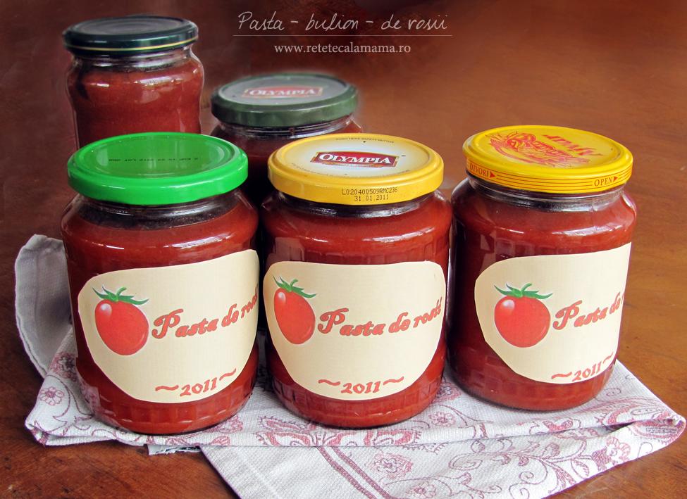 pasta de rosii - bulion - reteta pentru iarna, reteta de pasta de tomate pt iarna, reteta de bulion retetecalamamaro