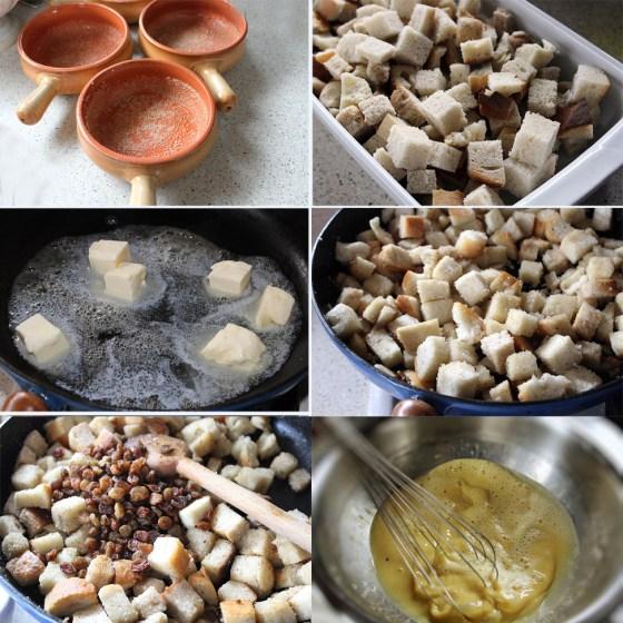 budinca de paine cu unt si caramel preparare