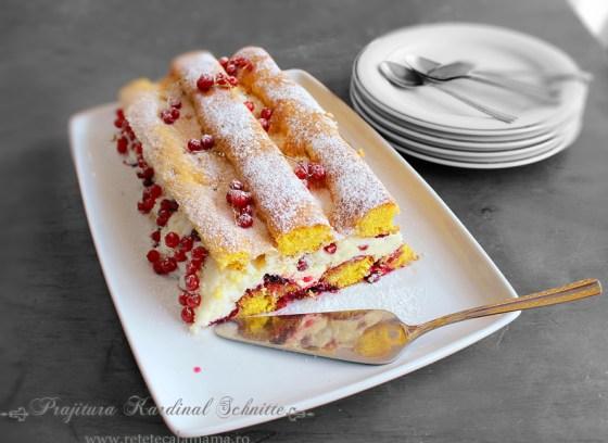 prajitura kardinal schnitte, reteta prajitura kardinal cu fructe si frisca