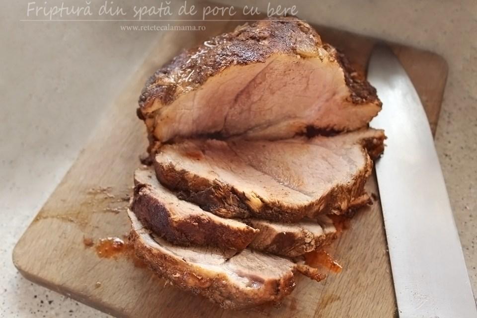 friptura de porc cu bere, reteta de friptura de porc din pulpa - spata, friptura frageda de porc la cuptor retetecalamamaro