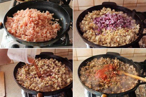preparare sos de carne pentru musaca
