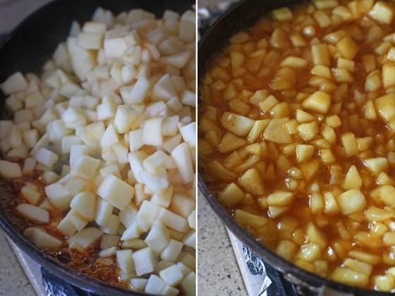 Se caramelizeaza intr-o tigaie incapatoare 200 de grame de zahar si cand are o culoare brun aurie se adauga merele bine scurse de apa si sucul de portocale. In scurt timp merele vor scade iar siropul se va ingrosa. In acest moment se adauga amidonul si scortisoara desfacute in 2-3 linguri de apa rece si se clocoteste compozitia, amestecand usor, pana cand se ingroasa.