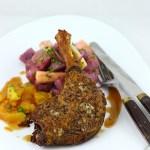 pulpe de rata in crusta de mustar cu salata de cartofi mov