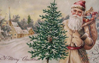 409-brown-robe-santa-claus-vintage-christmas-postcard