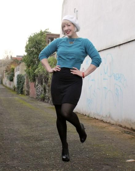 Black Mini Skirt and Shoe Boots
