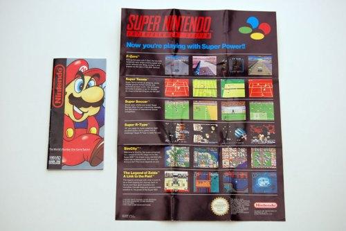 Super Nintendo mini poster and booklet