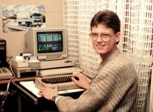 Chris Hüelsbeck 1986-ban a soundmonitorral a monitoron.