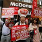 "Demonstrators holding posters march during a protest to demand higher wages for fast-food workers in front of a McDonald's fast-food restaurant in Tokyo's Shibuya shopping and amusement district May 15, 2014. The march was held as part of an international protest by fast-food workers who planned to go on strikes in 150 cities across the United States and demonstrations in 33 other countries on Thursday to demand higher pay and better working conditions. The placards read, ""Raise fast-food workers' hourly wage to 1,500 yen!""   REUTERS/Toru Hanai (JAPAN - Tags: BUSINESS EMPLOYMENT CIVIL UNREST) - RTR3P8AO"