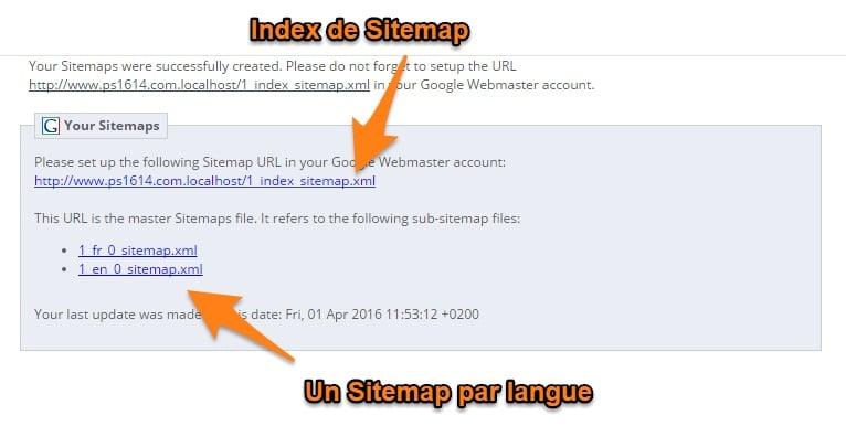 Sitemap prestashop correctement configuré