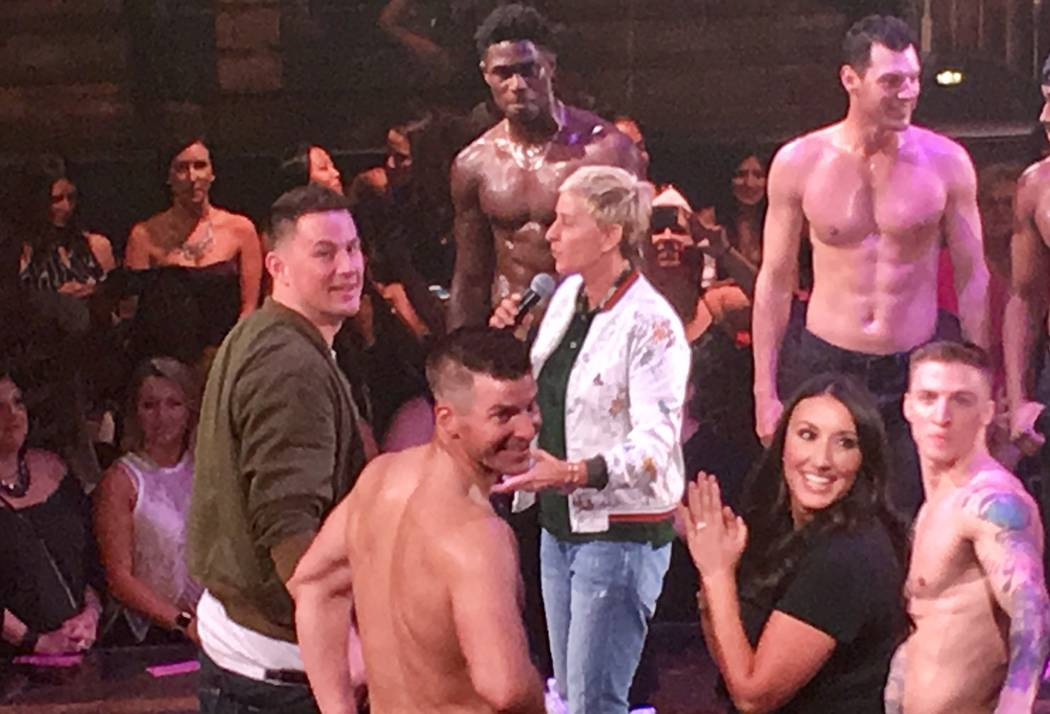 Channing Tatum  Ellen DeGeneres fire up  Magic Mike Live      Las     Ellen DeGeneres and Channing Tatum and the cast of  Magic Mike Live   address a