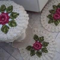 Jogo de banheiro com crochê maravilhosos modelos