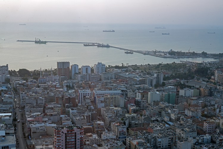 Mersin, a busy city of a million inhabitants, behind which rise the Cilician Taurus Mountains.