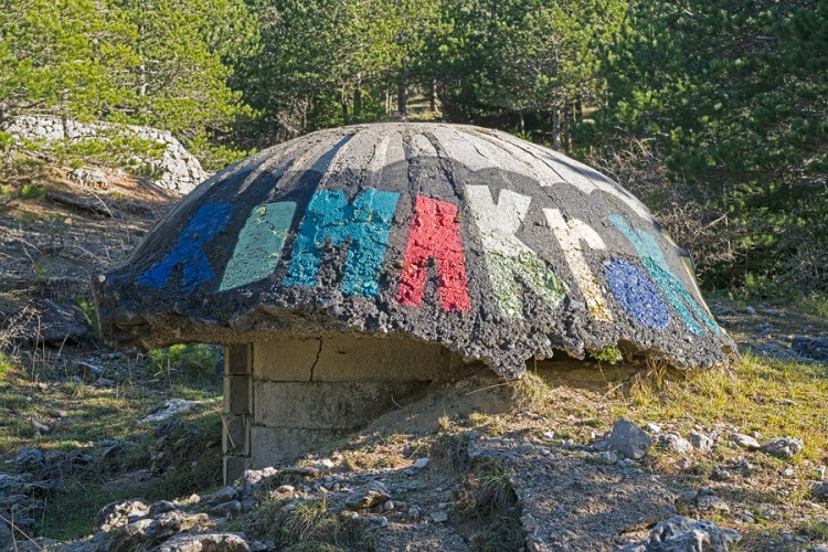 One of 750,000 pillboxes that the paranoid Hoxha installed to defend Albania from attack by real and imagined enemies.