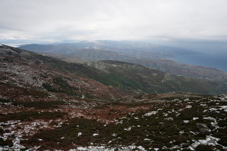 The northern end of Andros, seen from almost the highest point on the island. The topography is rolling and rounded.