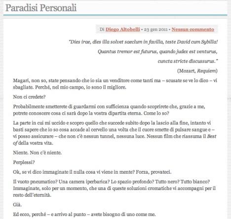 Paradisi Personali, Racconti, Raccontini, Fanta Marketing, Diego Altobelli, Revolutionine, SettePerUno