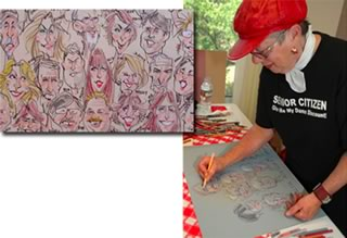 live caricature at a birthday party