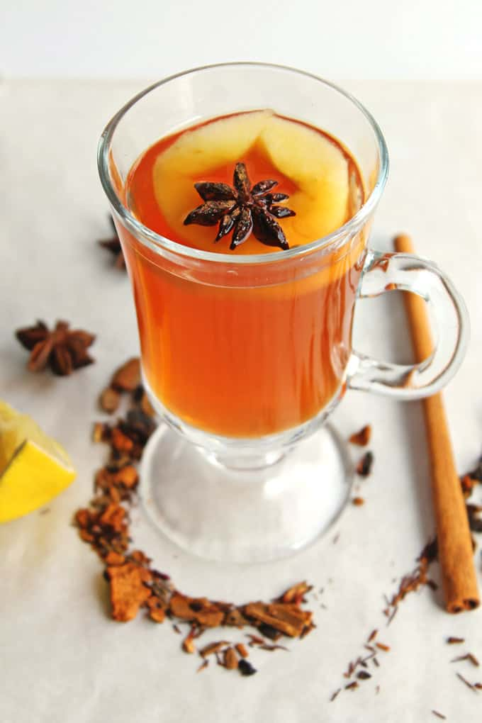 ... Apple cider tea, whiskey, honey, and lemon make this perfect for those