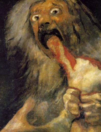 """Dettaglio del dipinto """"Saturno che divora i suoi figli"""" di Francisco Goya."""