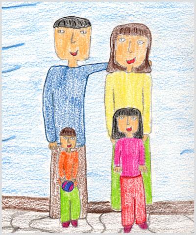 Dettaglio del disegno della famiglia di Rita, 12 anni.