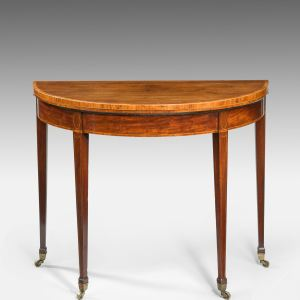 ANTIQUE GEORGE III MAHOGANY DEMI LUNE CARD TABLE