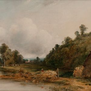 FREDERICK WILLIAM WATTS OIL PAINTING RIVER DEDHAM