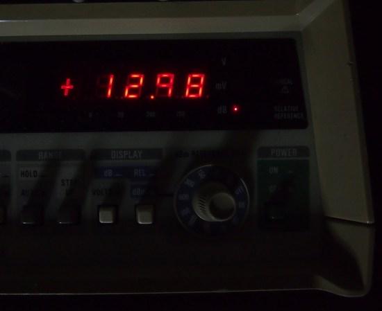 Fluke RMS meter showing input of +13dBu