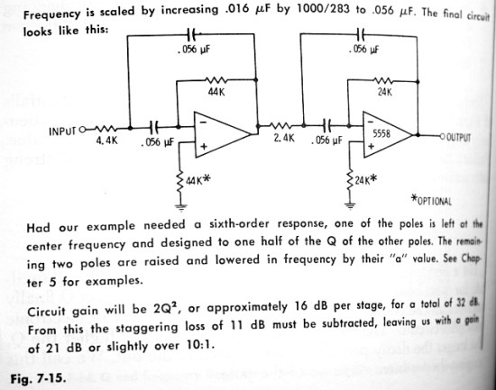 Lancaster's mid-frequency example, with some rum oddball values for the resistors and capacitors
