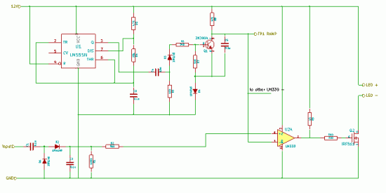 the rectifier-slicer. One oscillator and ramp generator serves three rectifier-slicers - the bottom part ofthe circuit is replicated for each channel