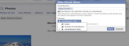 settings of shared album
