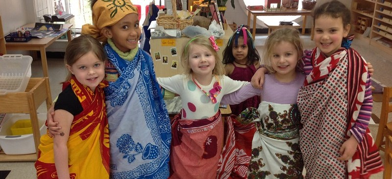 Richmond Montessori students celebrating continent day