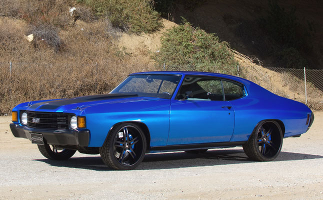 rides cars blue chevelle