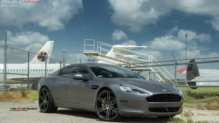 Matte Charcoal Aston Martin Rapide On Vellano Wheels By MC Customs 01R
