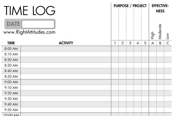 Time Management 2 Time Logging Log Where Your Time Actually Goes – Time Log Template