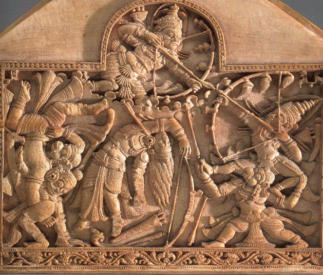The invisible Indrajit fires arrows at Rama and his allies; end panel from a box (detail), ca. 1500–1600. Sri Lanka. Ivory. Virginia Museum of Fine Arts, Friends of Indian Art and the Robert A. and Ruth W. Fisher Fund, 2004.16.
