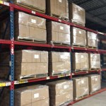 Packed books in the warehouse. These pallets will be joined by many more. (March 26, 2014)