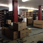 Boxes of books and card catalog drawers reading for loading. (March 27, 2014)