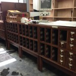 Even the card catalogs are going! Drawers removed have been packed. ( March 27, 2014)