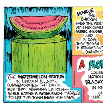 """The term """"meme"""" was coined in 1976 by evolutionary biologist Richard Dawkins. --------------------- The Watermelon Statue in Lincoln, Illinois, commemorates the day in 1853 that Abraham Lincoln—while eating a watermelon—agreed to let the town bear his name. --------------------- Monique the chicken sails the world with her owner, Guirec Soudee, and in 2014, they began a transatlantic journey! --------------------- A monkey caused a nationwide blackout in Kenya on June 7, 2016."""