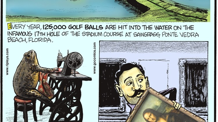 """Every year, 125,000 golf balls are hit into the water on the infamous 17th hole of the stadium course a Sawgrass, Ponte Vedra Beach, Florida. -------------------- Croatia's Froggyland Museum is filled with over 500 taxidermied anthropomorphically dressed and posed frogs! -------------------- In 1911, Vincenzo Peruggia simply walked into The Louvre Museum and walked out with the """"Mona Lisa""""."""