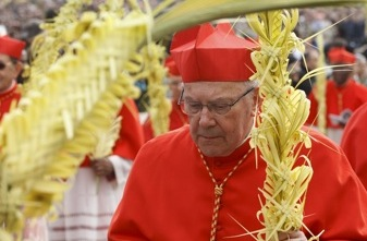 CARDINAL LEVADA CARRIES PALM FRONDS IN PROCESSION DURING PALM SUNDAY MASS AT VATICAN