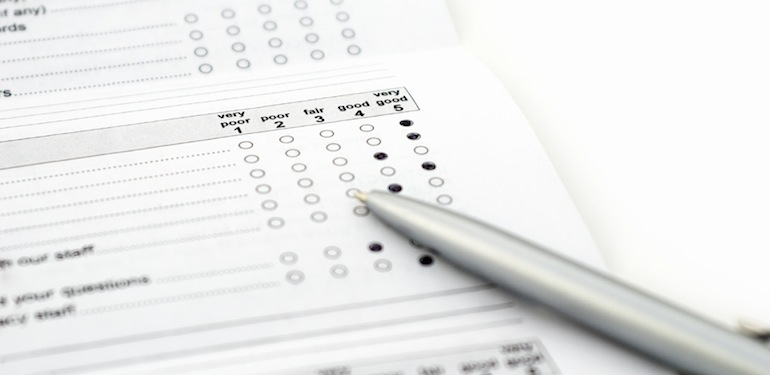 Survey form with positive feedback. Shallow DOF.