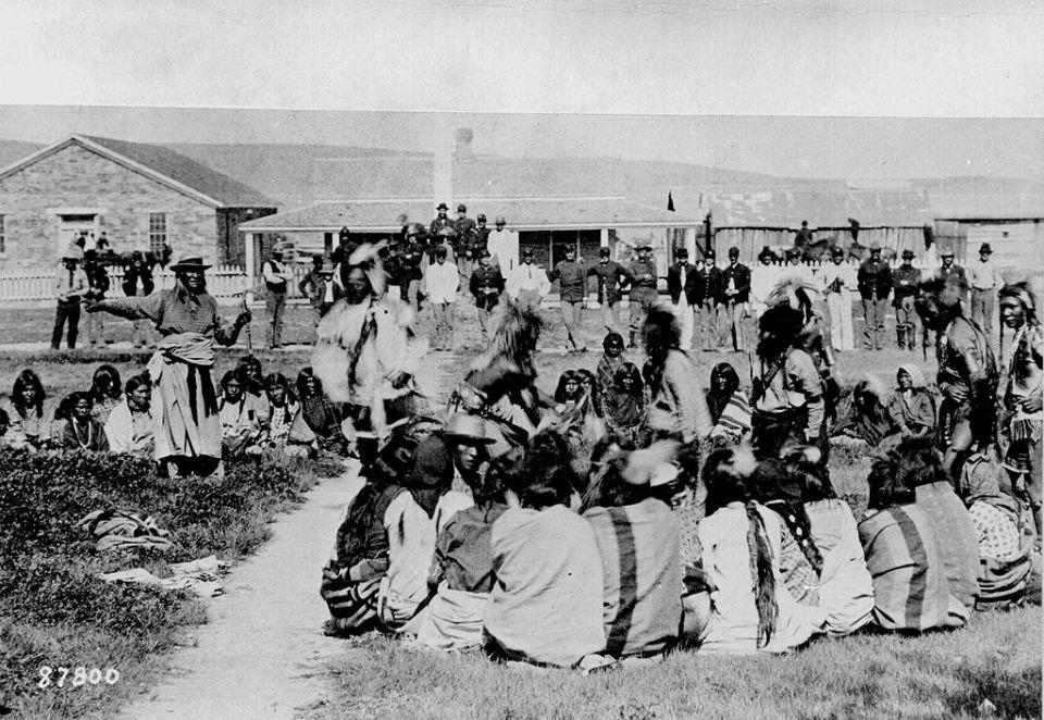 Shoshone People at Fort Washkakie (1892)