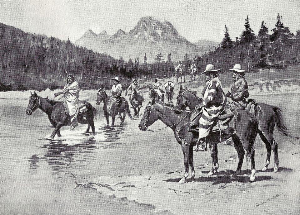 Illustration depicting Bannock People crossing the Snake River (1895)
