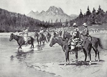 Illustration depicting Bannock People crossing the Snake River (1895)