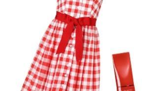 فستان مربعات احمر بالابيض